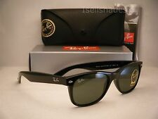 Ray Ban 2132 New Wayfarer Black w Green Crystal (G-15) Lens (RB2132 901L 55)