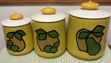 VINTAGE KROMEX YELLOW SET OF 3 Metal CANISTERS W/PLASTIC LIDS DRY STORAGE
