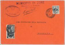 REPUBBLICA - Storia Postale: ANNULLO MUTO EMERGENZA su BUSTA da  ZONE  1953