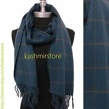 New 100%CASHMERE SCARF Check Plaid Scotland Soft Warm Wool Color Blue/coffee