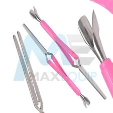 Multifunction ACRYLIC NAIL PINCHER Magic Wand PINK Cuticle Pusher Tweezer Tool