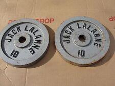 """Vtg Jack Lalanne Barbell 10 Lb x 2 Weight Plates 20 LB Standard 1"""" Dumbbells"""
