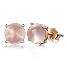 Exquisite Rose Gold Plated Pink Rose Quartz Stud Earring Lady Girl Gift Jewelry