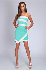 Party Strapless Mini Dress Striped Bandeau Bodycon Tunic Sizes 8-14 FC1480