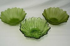 Vintage Indiana Glass Company Lily Pons Deep Nappy Green Serving Bowls Line 605
