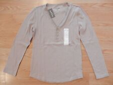 NWT Women's EDDIE BAUER Tan Thermal Lace Henley V-Neck Top Shirt Size Small S