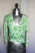 Womans J CREW Green & White Cotton Cardigan Sweater Size S