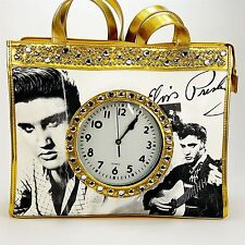 "Elvis Presley Gold Tote Bag Purse w/ 6"" Working Clock Faux Diamonds by Ashley M"