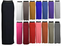 New Womens Long Gypsy Plain Maxi Skirts Ladies Stretch Full Length Skirt Dress