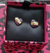 Juicy Couture NEW Pave Heart Stud Earrings Fuschia Pink Crystals