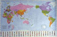 WORLD MAP =POSTER= 60x90cm Flag Country info NEW * Australia Center