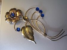 VINTAGE LARGE HARRY ISKIN 1/20 10K GOLD F. COBALT BLUE FUR CLIP/BROOCH PIN