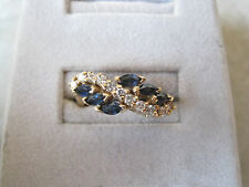 14K Yellow Gold Ladies Sapphire And Diamond Fashion Ring .20ct