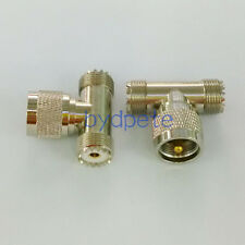 T tyep one UHF male plug PL-259 to two UHF female SO-239 RF Connector Adapter