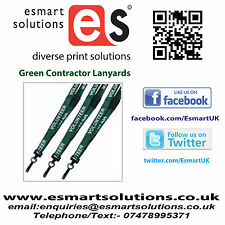 10 x CONTRACTOR Neck Lanyard, GREEN, (FREE P&P)