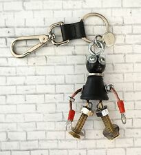 PRADA Robot Edward Trick Nutty Black Saffiano Leather Metal Key Chain Charm 8.5""