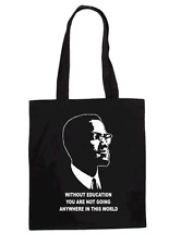 MALCOLM X  RETRO LADIES T SHIRT DESIGN TOTE BAG
