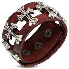Genuine Red Brown Leather Fleur De Lis Flower Cross Stud Snap Wristband Bracelet