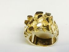 14kt Solid Yellow gold Men's nugget design fashion ring 30 grams 25MM