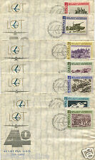POLAND POLSKA, SET 7 COVERS, 40 YEARS LAT PLL LOT, 1969, WITH VARIOUS ANNULS   m
