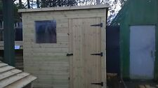 8 x 6 WOODEN PENT GARDEN SHED - PRESSURE TREATED WOOD THROUGHOUT