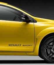 RENAULT SPORT style logo CARBON FIBER vinyl 450mm wide PAIR of stickers