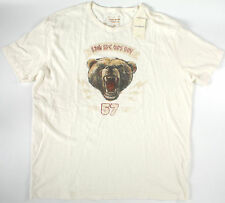 LUCKY BRAND Military Bear logo T-Shirt- XL-NEW-natural tee-top-$29 -grizzly-NWT-
