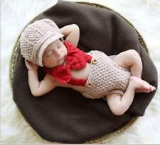 Newborn Baby Boys Crochet Knit Costume Overalls Photo Photography Prop