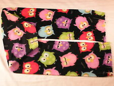 Owls Multi Color Owls on Black Fleece Scarf