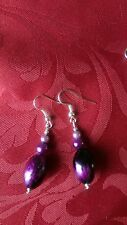 Acrylic purple/black mottled bead earrings, pearl effect beads x 2, plated(287)