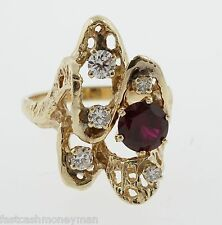 LADIES UGLY 14K YELLOW GOLD DIAMOND 70'S TREE BARK COCKTAIL CLUSTER RING ESTATE