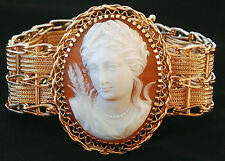 LARGE REMARKABLE ANTIQUE 14K GOLD Shell CAMEO BRACELET one of a kind, 39g weight