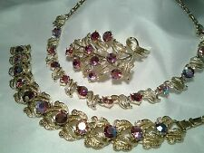 Vintage Gold Coro Pink Red Ab Rhinestone Necklace Bracelet Brooch Pin Set Box