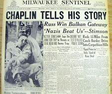 2 1944 headline newspapers Movie Star CHARLIE CHAPLIN on TRIAL in Sex Scandal