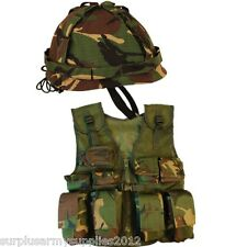 BOYS ARMY SOLDIER FANCY DRESS COSTUME KIDS COMBAT ASSAULT VEST + HELMET DRESS UP