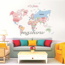World Map Removable Wall Stickers Art Letter Quote Decal Mural Home Decor Vinyl