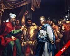JESUS CHRIST BEFORE THE HIGH PRIEST PAINTING CHRISTIAN BIBLE ART CANVAS PRINT