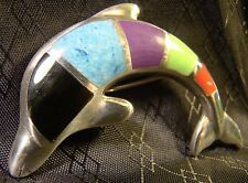 Very Nice Sterling Silver Jumping Dolphin Multi Color Enamel Pin Brooch Pendant