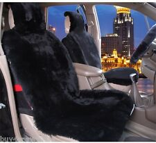1pc Black Real Sheepskin Fur Car Seat Covers One Size Fit most (Universal Fit)