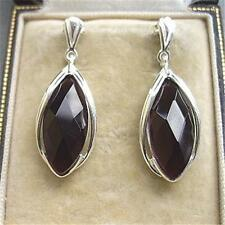 Chique Deco Design Genuine Faceted Amethyst & Silver Drop Earrings