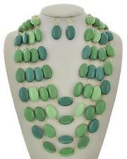 Four Layers Multi Green Oval Lucite Bead Chunky Necklace Earring Set