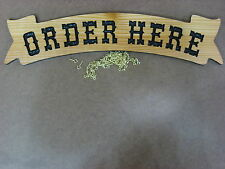 ORDER HERE Banner 3D Carved WRC Wood Sign 4x18 w/Chain, Deli Shop Pizza Sub Wstn