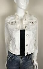 Earl Jean Denim Jacket Jewel Buttons And Studs White Size Medium