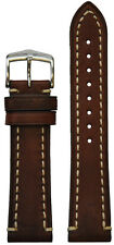 22mm Hirsch 'Liberty' Nature Brown Calf Leather Watch Band with White Stitching