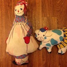 "2 Antique Vintage Old RAGGEDY ANN & PIG FRIEND Stuffed 18"" Pillow Dolls Handmade"