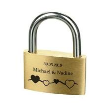 Lovelock Padlock GOLD incl. Engraved Design Heart on the Line