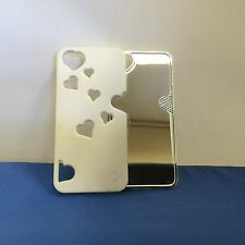 LUXM CELL PHONE CASE FOR IPHONE 5 ALL WHITE HEART DESIGN WITH PULL OUT MIRROR