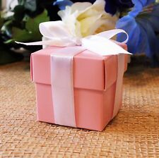 50pcs Pink 2-Piece Wedding Party Baby Shower Baptism Favor Gift Craft Boxes 2""