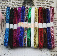 "wholesale 5-200 Yards 3/8""10mm Sparkle Glitter Velvet Ribbons Headband Clips Bow"