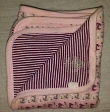 OLD NAVY  LITTLE BUNDLES PINK KITTY CAT GRAY  STRIPES BABY BLANKET